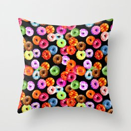 Multicolored Yummy Donuts Throw Pillow
