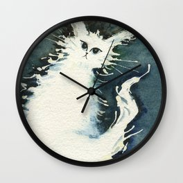 Frosty Whimsical White Cat Wall Clock