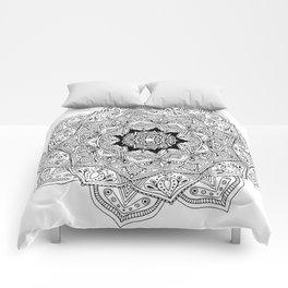 paisley black and white hippie boho mandala Comforters