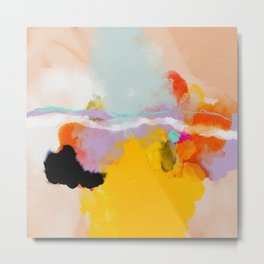 yellow blush abstract Metal Print