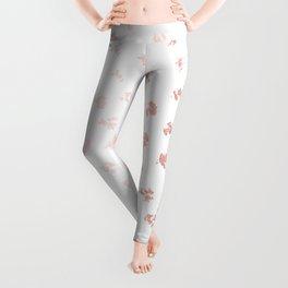 Rose Gold Pink Polka Splotch Dots on White Leggings