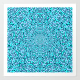 Aqua Blue Water Mandala Art Print
