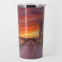 Holy Island of Lindisfarne, England causeway and refuge hut, sunset Travel Mug