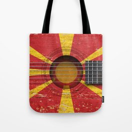 Old Vintage Acoustic Guitar with Macedonian Flag Tote Bag