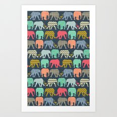baby elephants and flamingos Art Print