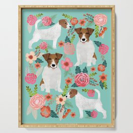 Jack Russell Floral Dog Print - jack russell art, jack russells, jack russell floral Serving Tray
