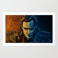 loki Art Prints featuring Loki by Sara Cooley
