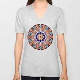 Multicolored abstract fractal mandala Unisex V-Neck