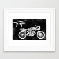 cafe racer Framed Art Prints featuring Vintage Torque Cafe Racer by Mike Greenwell