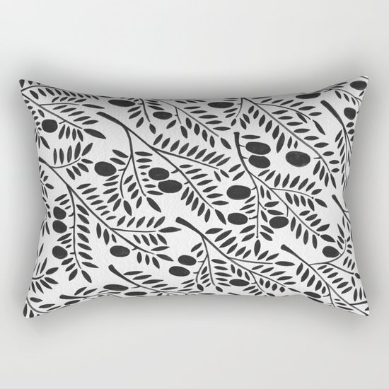Black Olive Branches Rectangular Pillow