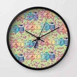 Easter word on eggs Wall Clock