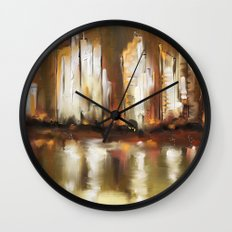 Brown City Wall Clock