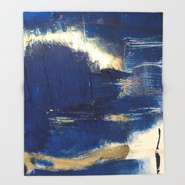 Halo [2]: a minimal, abstract mixed-media piece in blue and gold by Alyssa Hamilton Art Throw Blanket