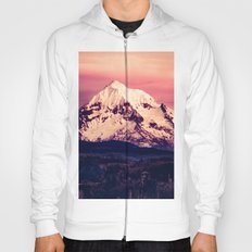 Forest Mountains - Mt Hood Snow Clouds Mountain and Trees Hoody