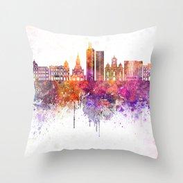 Santiago de Cali skyline in watercolor background Throw Pillow