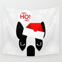 boston terrier Wall Tapestries featuring Santa Boston Terrier by Lulo The Boston Terrier