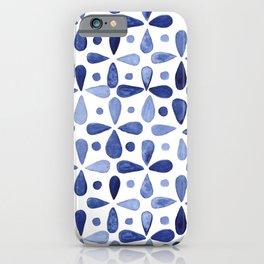 Imperfect Geometry Blue Petal Grid iPhone Case