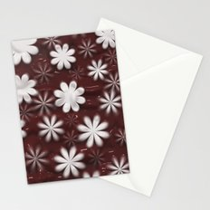 Melted Chocolate and Milk Flowers Pattern Stationery Cards