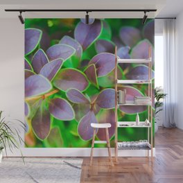 Vibrant green and purple leaves Wall Mural