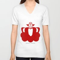 martell V-neck T-shirts featuring Sailor Moon Inspired Crown Red by G Martell