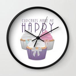 Cupcakes Make Me Happy Wall Clock