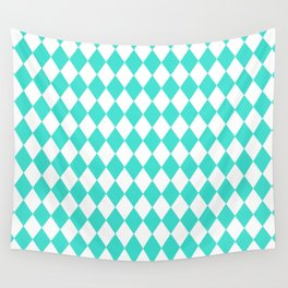 Diamonds (Turquoise/White) Wall Tapestry