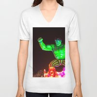hulk V-neck T-shirts featuring Hulk by Roser Arques