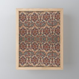 Eighteenth century rows of rosettes and swags in a straight repeat on a picotage ground textile desi Framed Mini Art Print