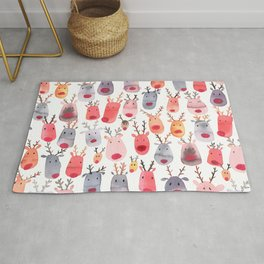 Christmas Winter Cute Reindeers Rug