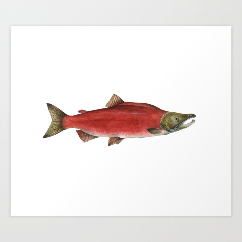 Sockeye Salmon Block Print