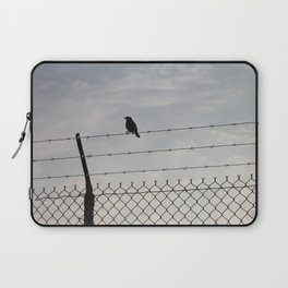 Single Black Bird on a Barbed Wire Fence Laptop Sleeve