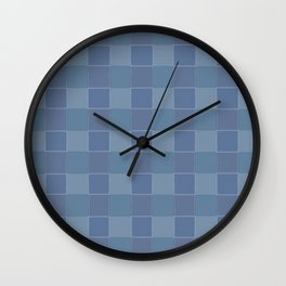 Abstract squares in shades of blue Wall Clock
