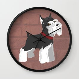 Miniature Schnauzer Puppy Dog | Terrier w Attitude / Angry Wall Clock