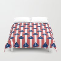 sailboat Duvet Covers featuring SAILBOAT by ovisum