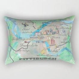 Pittsburgh Pennsylvania Fine Art Print Retro Vintage Map with Touristic Highlights Rectangular Pillow