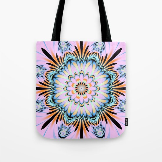 Decorative fantasy flower with a pastels heart Tote Bag