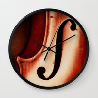 violin Wall Clocks featuring Violin by Maite Pons