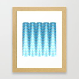 Oktoberfest Bavarian Blue and White Chevron Stripes Framed Art Print