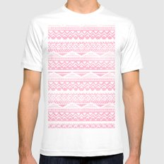 Modern hand drawn geometric aztec pattern pink watercolor White MEDIUM Mens Fitted Tee