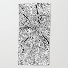 Paris White Map Beach Towel