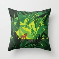 simba Throw Pillows featuring Lion King - Simba Pattern by Cina Catteau
