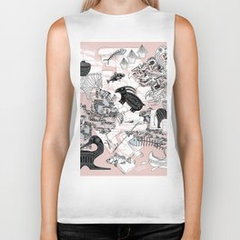 """Primitive Pink, Black and Blue Jungle Pattern"" Biker Tank"