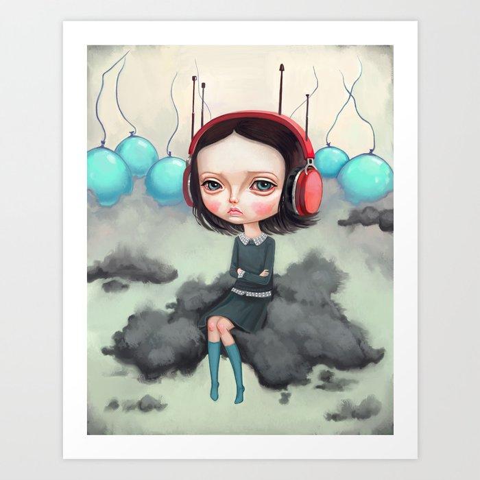 Girl Pouting On A Cloud Art Print