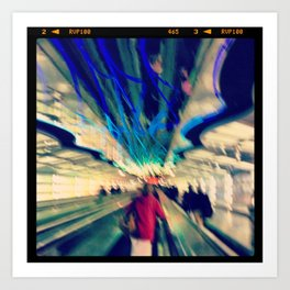Rushing on the walkway... Art Print
