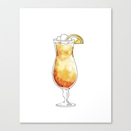 Watercolor hand-painted cocktail illustration Canvas Print