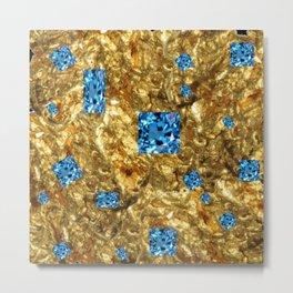 FACETED BLUE  TOPAZ GEMSTONES ON GOLD Metal Print