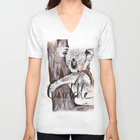cuddle V-neck T-shirts featuring koala cuddle by Katy Lloyd