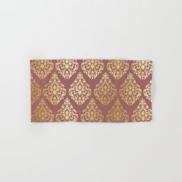 Burgundy rose gold elegant damasque Hand & Bath Towel