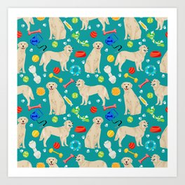 Golden Retriever pet friendly dog breeds dog toys cute dog gifts for dog lovers Art Print