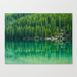 Reflective Green Pine Forest With Green Turquoise Waters Canvas Print